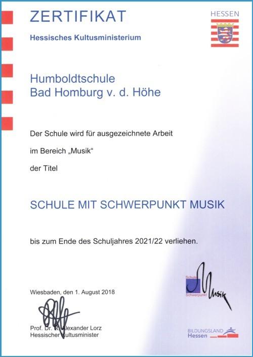 Zertifikat Schule mit Schwerpunkt Musik