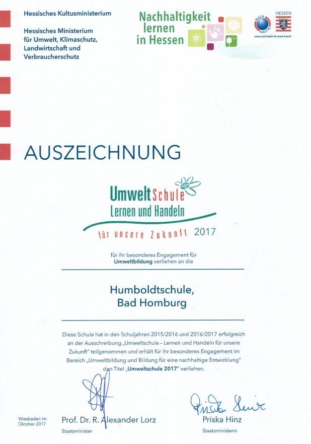 """Urkunde """"Umweltschule"""" 2017"""